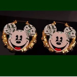 Big MONEY MAKING MICKEY MOUSE BAMBOO earrings